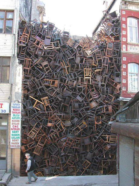 Doris Salcedo Chair installation at the Istanbul 2003 Biennial