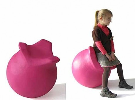 the zball by james van vossel is an inflatable ergonomic ball but its 3 handles are positioned in such a way to allow the user to sit further forward than