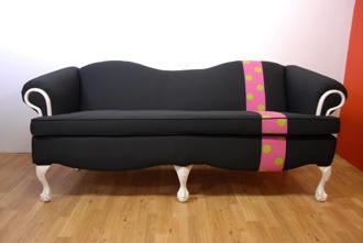 metro sofa - black white pink polka dot sofa front