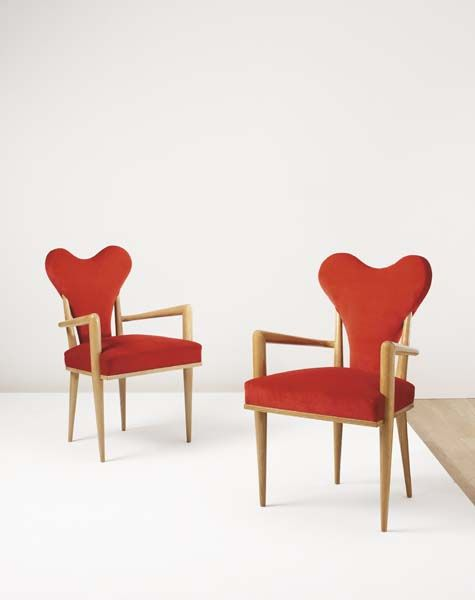 Rare pair of Cœur (=Heart) Chairs by Jean Royère