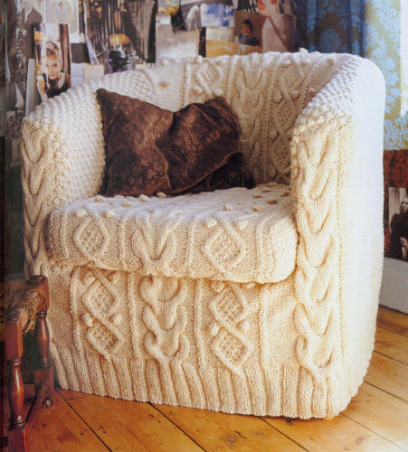 Knit an Aran Armchair Slipcover