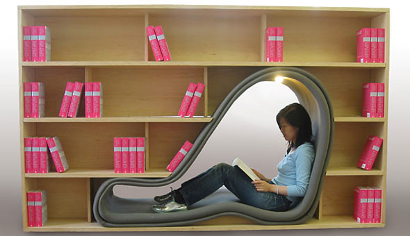cave_bookcase seating by Sakura Adachi