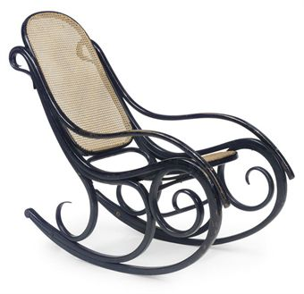 Rocking Chair with Cane Seating and Back after Thonet