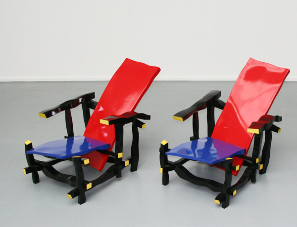left handed rietveld red and blue chair interpretation by julien berthier. Black Bedroom Furniture Sets. Home Design Ideas