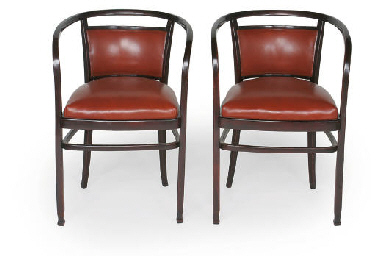 Two Leather Otto Wagner Armchairs