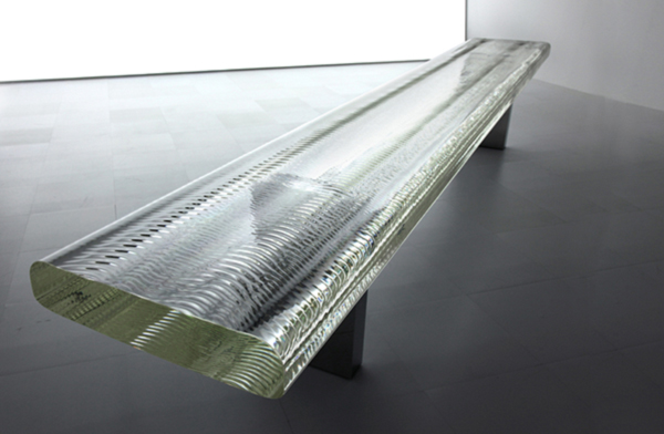 Waterfall Glass Bench by Tokujin Yoshioka