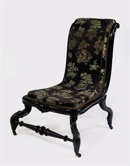 Dutch Ebonized Low Chair Chauffeuse