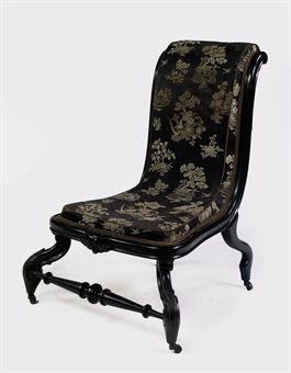 Dutch Ebonized Low Chair Chauffeuse