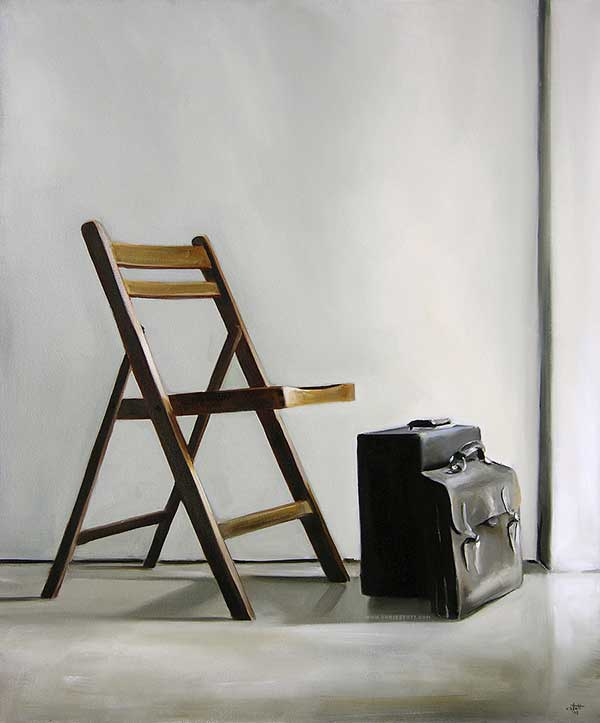 Two Paintings with a Chair by Christopher Stott