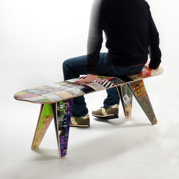 Recycled Skateboard Bench by Deckstool