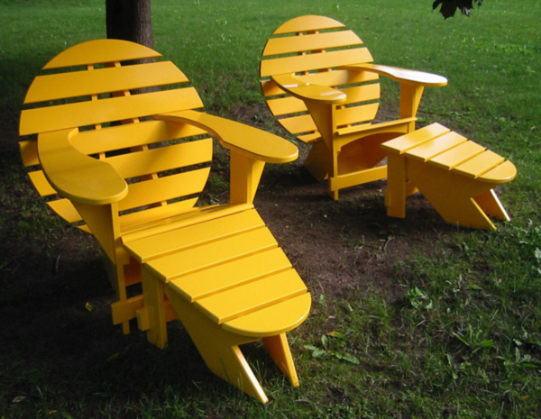 Yellow Lodge Chair by Jardinique with foot stool