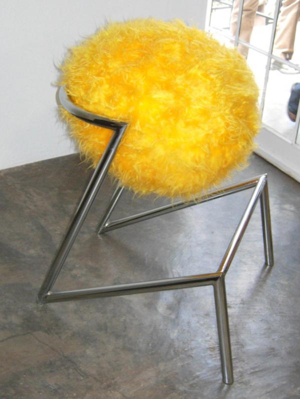 Yellow Ostrich Stool by Tsai Design Studio