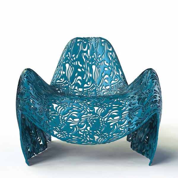 Blue Parametric Lace Chair by Peter Donders