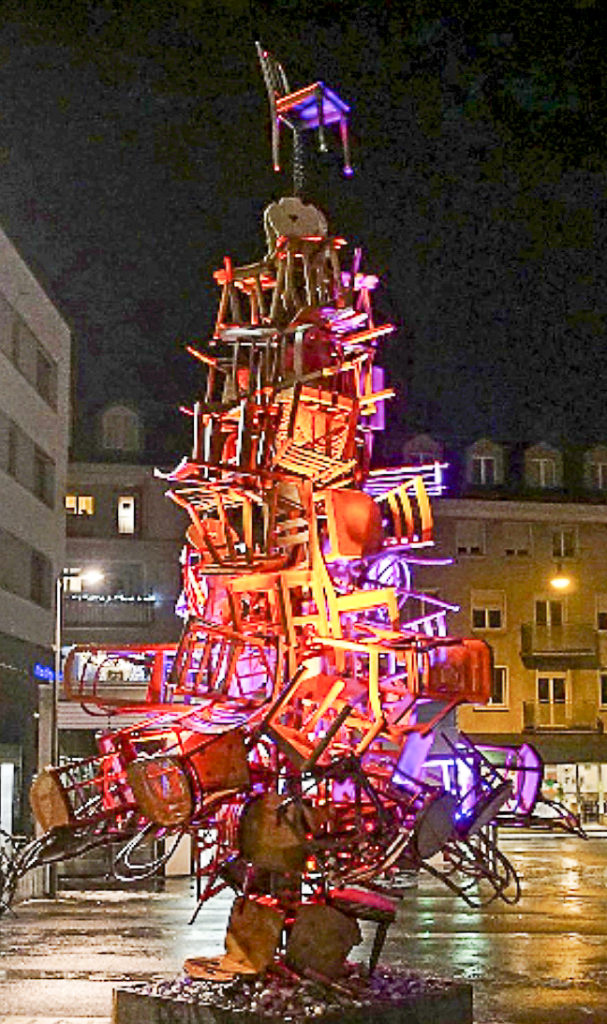 Christmas tree of chairs