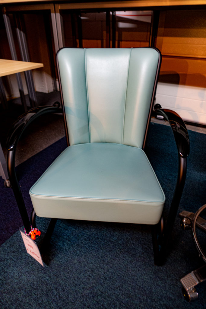 Light Grey-Blue leather W.H. Gispen Chair no 412