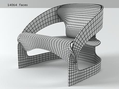 3 D model of Chair 4801 by Joe Colombo
