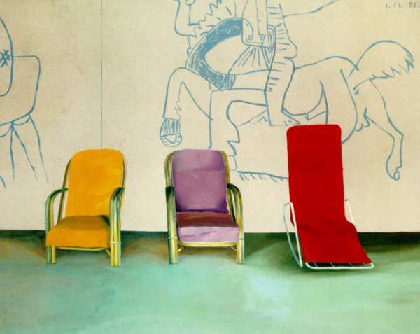 3-chairs-in-front-of-a-Picasso-by-David-Hockney