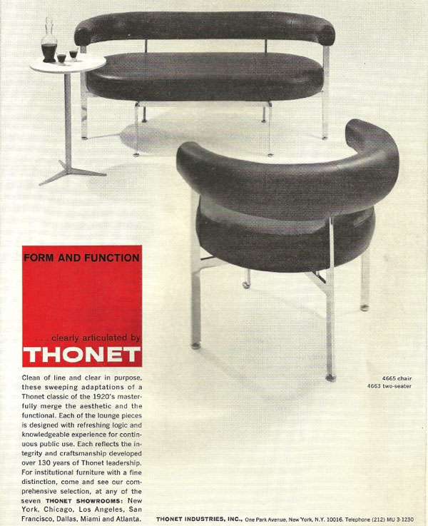 4665 Chair and 4663 Two Seater ad Thonet USA