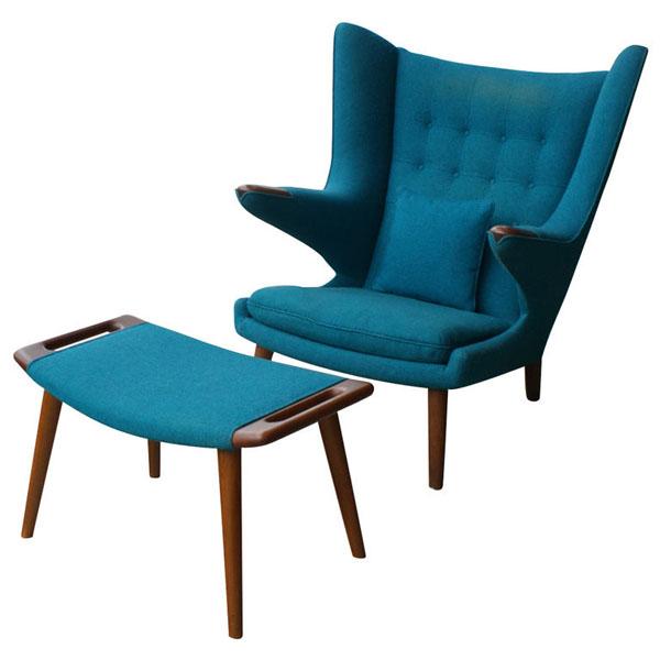 Blue Hans Wegner Pappa Bear Chair