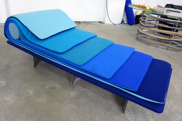 Blue Waves Daybed by Laurent Muller