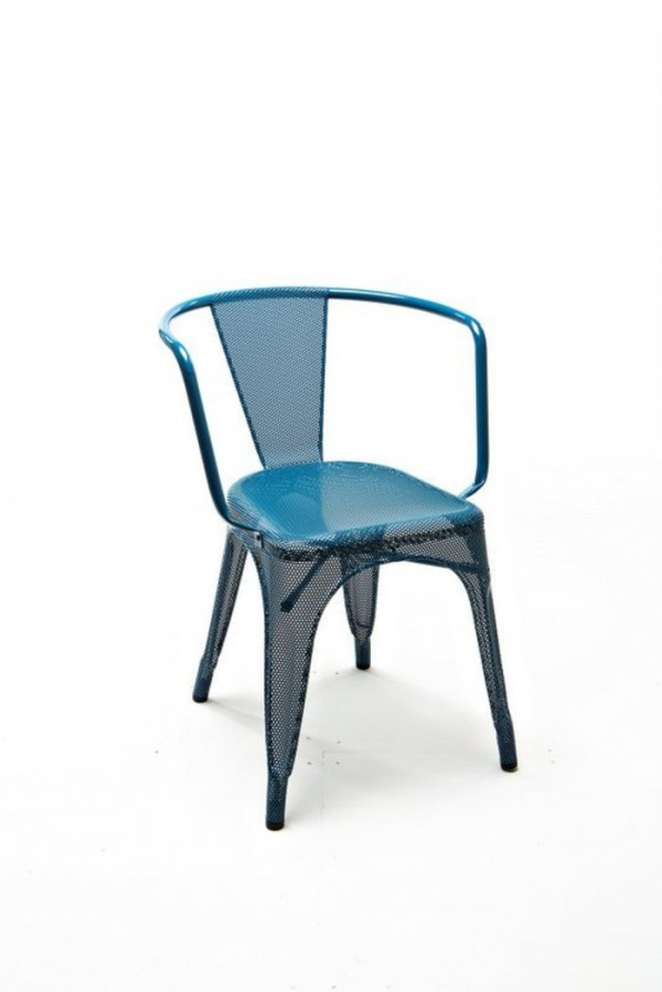 Blue Perforated A97 Tolix armchair by Chantal Andriot side