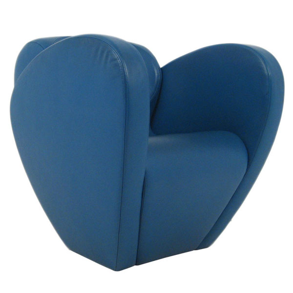 Blue Size Ten lounge chair by Ron Arad Partial Front