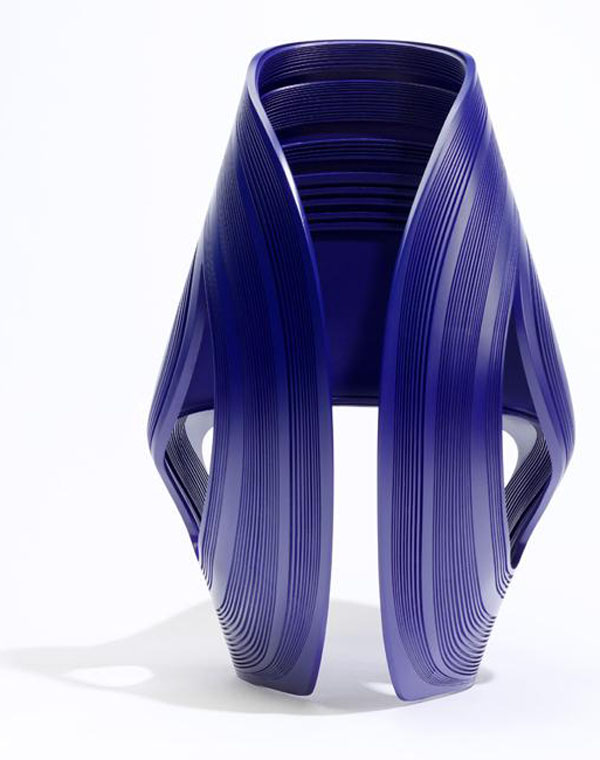 Blue kuki chair by zaha hadid back