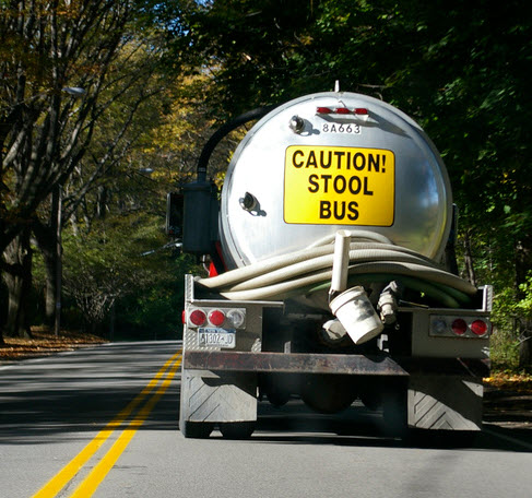 Caution Stool Bus Backside