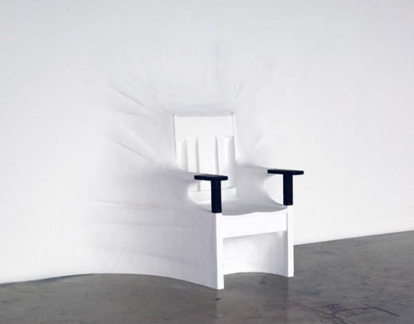 Chair hidden in the Wall by Daniel Arsham