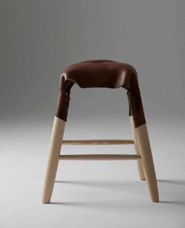 Leather Stool by Tortie Hoare