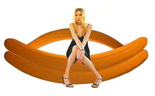 Orange Banana Rocking Sofa by Andrej Statskij