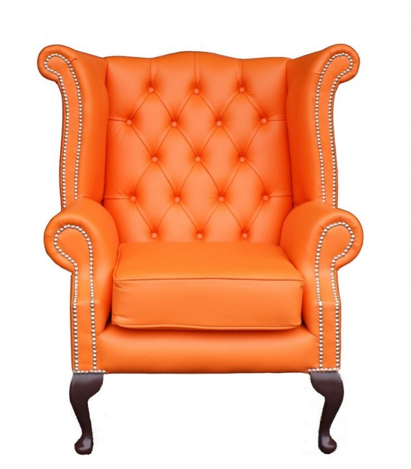 Orange Chesterfield Wing Chair
