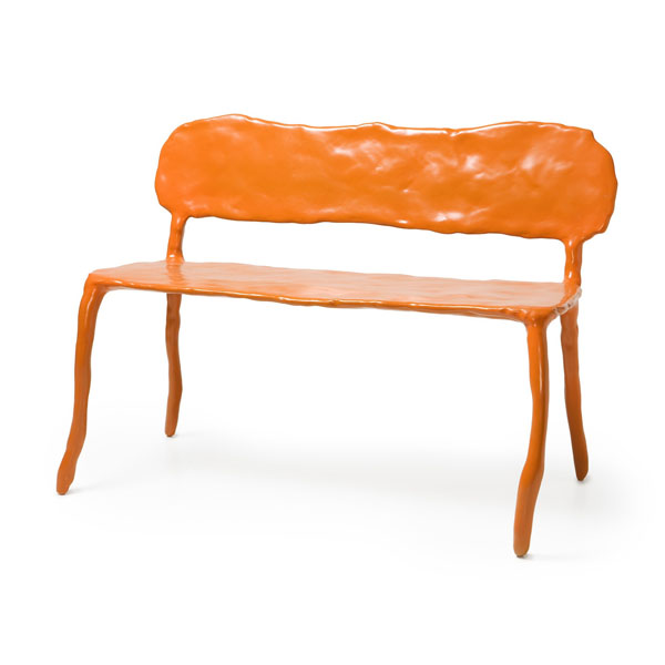 Orange Clay Bench by Maarten Baas