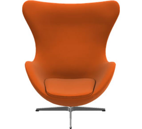 Orange Egg Chair by Arne Jacobsen Front