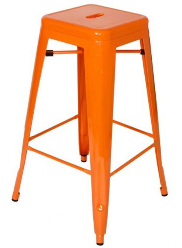Orange Tolix H Stool by Xavier Pauchard