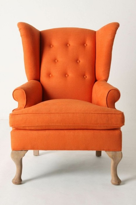 wing chair or wingback chair Archives Page 2 of 4  : Orange Wing Chair from chairblog.eu size 467 x 700 jpeg 44kB