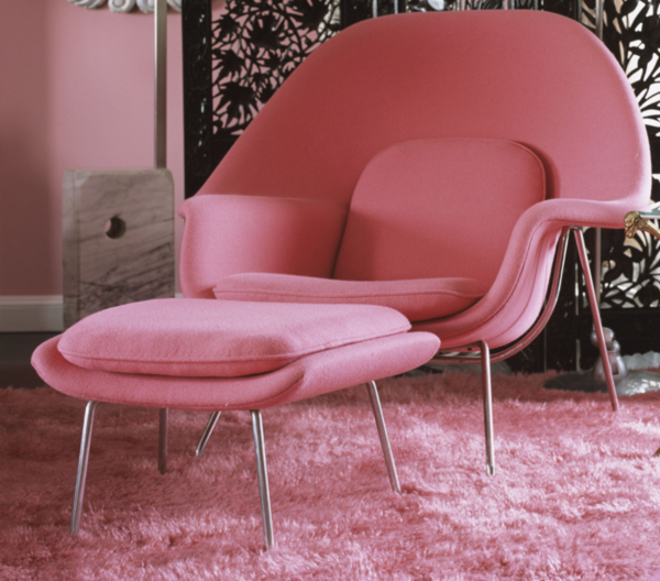 pink and yellow womb chair by eero saarinen