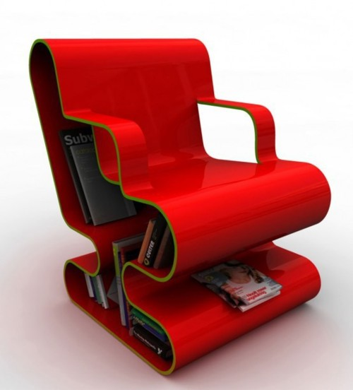 Red Lounge Chair with Book Storage