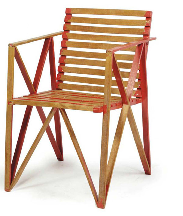 Slatted Beechwood Chair by Gerrit Thomas Rietveld