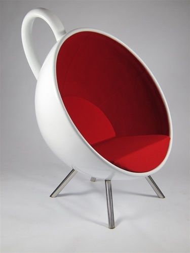 White and Red Teacup Chair