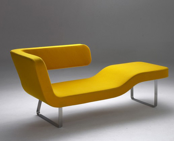 Yellow lounger by rene sulc for Another word for chaise lounge