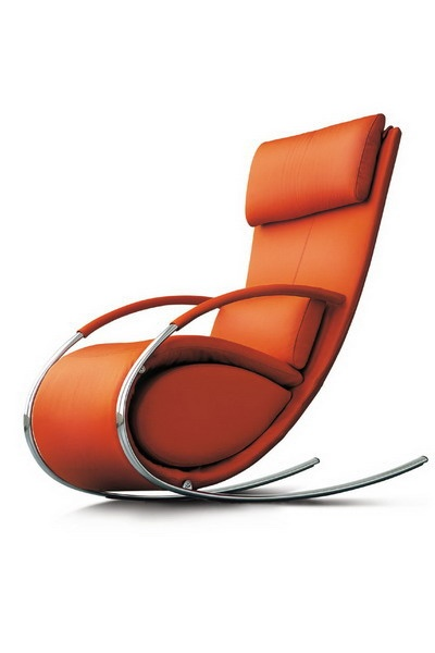 Orange Leather And Chrome Tubular Rocking Chair
